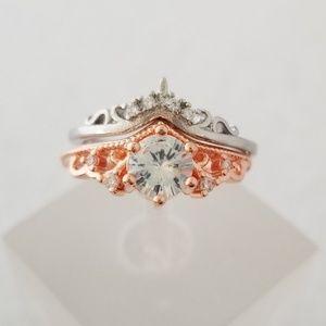 (2pcs) 18k Over Sterling Crown Design Ring Set